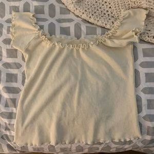 brandy melville light yellow off the shoulder top